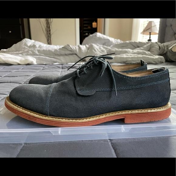 Aldo Blue / Navy Suede Oxford Wingtip Shoes EUC